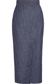 Adam Lippes Wrap-effect denim midi skirt