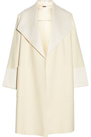 Satin-trimmed wool-blend coat