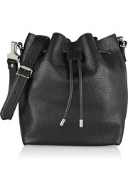 Bucket medium textured-leather shoulder bag