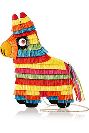 Piñata raffia and leather shoulder bag
