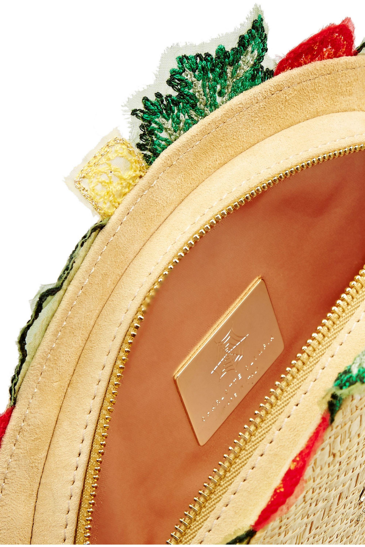 Charlotte Olympia Taquera suede-trimmed embellished raffia clutch