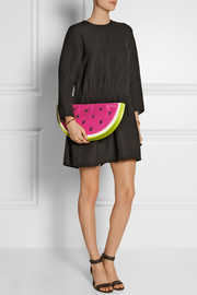Charlotte Olympia I Carried A Watermelon embellished satin clutch