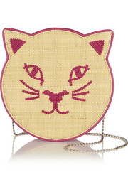 Pussycat embroidered raffia and leather shoulder bag