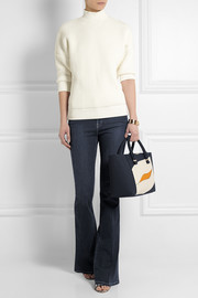 Quincy color-block leather tote