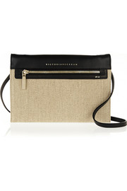 Leather and canvas shoulder bag