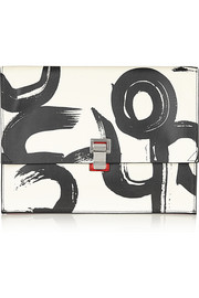 The Lunch Bag large printed leather clutch