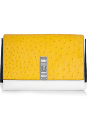 Elliot ostrich, leather and suede clutch