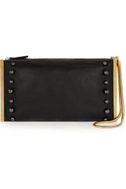 Private studded leather clutch