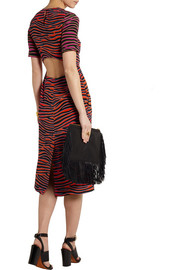 House of Holland Zebra-print silk crepe de chine midi dress