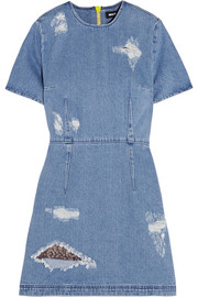 House of Holland Distressed denim mini dress
