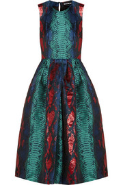 Metallic snake-jacquard dress
