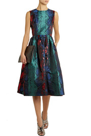 House of Holland Metallic snake-jacquard dress