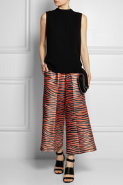 Cropped printed silk and wool-blend wide-leg pants