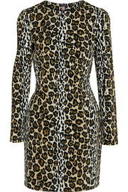 Leopard-print velvet mini dress