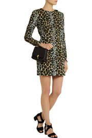 House of Holland Leopard-print velvet mini dress
