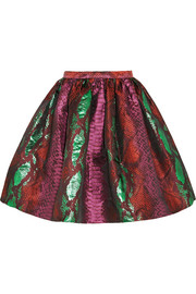 Metallic snake-jacquard mini skirt