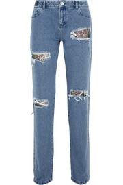 House of Holland Distressed lace-appliquéd high-rise boyfriend jeans