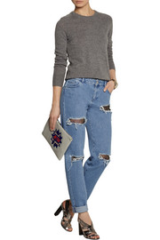 Distressed lace-appliquéd high-rise boyfriend jeans
