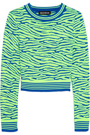 Cropped intarsia stretch-knit sweater