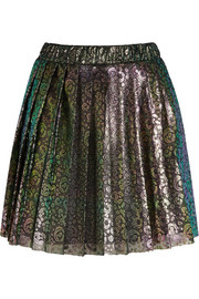 Lacke metallic leopard-print tulle mini skirt