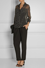 Elizabeth and James Emmanuelle polka-dot silk-chiffon shirt