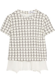 Tierney checked stretch-knit and silk-chiffon top