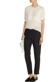 Elizabeth and James Tulsi layered silk-crepe top