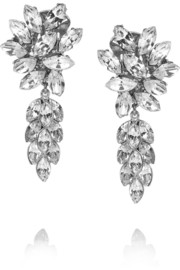 Silver-plated Swarovski crystal clip earrings