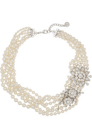 Ben-Amun Faux pearl and Swarovski crystal necklace