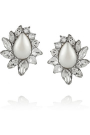 Silver-plated, Swarovski crystal and faux pearl earrings