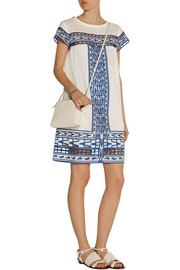 Cutout embroidered cotton-voile mini dress