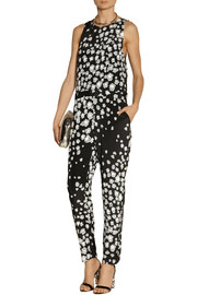 SEA Leo printed stretch-silk jumpsuit