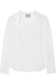 Lace-paneled cotton-blend shirt