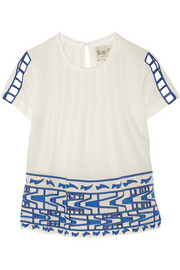 Cutout embroidered cotton-voile top
