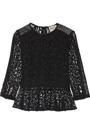 Mesh-paneled lace peplum top