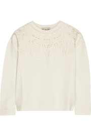 Cutout embroidered cotton-jersey sweatshirt