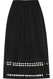 Cutout embroidered cotton-voile skirt