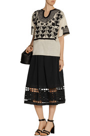 SEA Cutout embroidered cotton-voile skirt