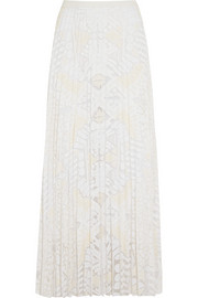 Pleated lace maxi skirt