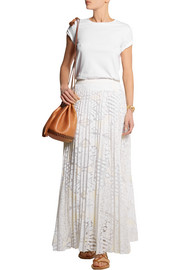 SEA Pleated lace maxi skirt