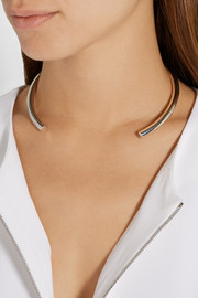 Jennifer Fisher + Stop It Right Now rhodium and silver-plated choker
