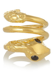 Twisted Snake gold-plated cubic zirconia ring