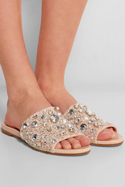 Crystal-embellished suede and leather slides
