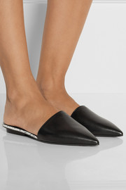 Narciso Rodriguez Athena watersnake-trimmed leather point-toe flats