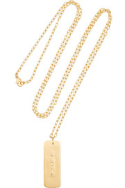 Luck gold-plated tag necklace