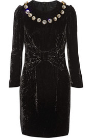 Marc Jacobs Silk satin-paneled embellished velvet mini dress