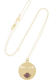 Alison Lou Mwa! 14-karat gold ruby necklace