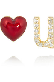 Alison Lou Love U 14-karat gold, diamond and enamel earrings