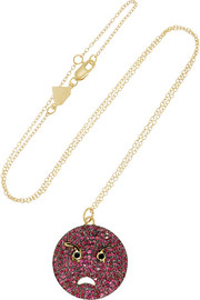 Alison Lou Angry 14-karat gold, ruby, diamond and enamel necklace
