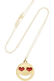 Alison Lou Large Love Struck 14-karat gold and enamel necklace